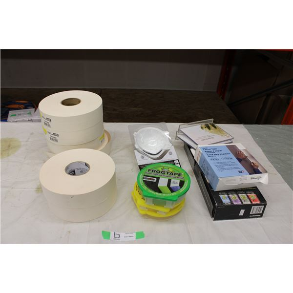 Six Rolls of Drywall Tape and Accessories