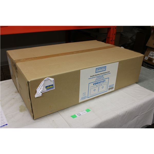 """Stainless Steel Double Sink 20.5"""" x 31"""" in Box"""
