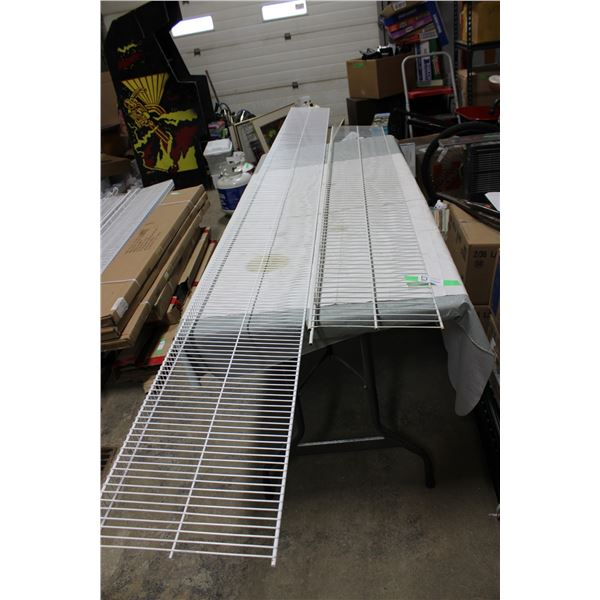 Large Quantity of White Steel Store Shelving and Accessories