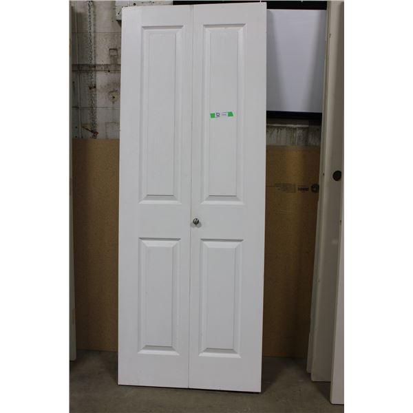 "Folding White Wooden Closet Doors: 30"" x 79"""