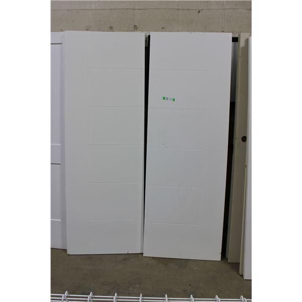 "(2X THE MONEY) Pair of White Wooden Doors: 28"" x 80"""