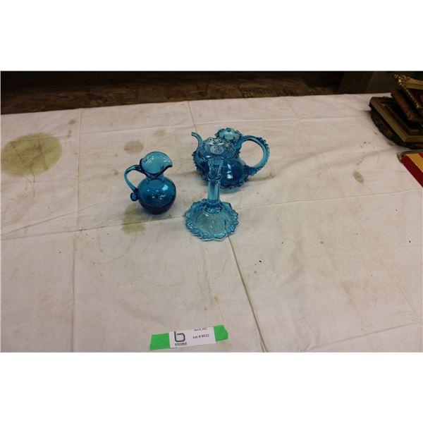 Three Blue Glassware Pieces