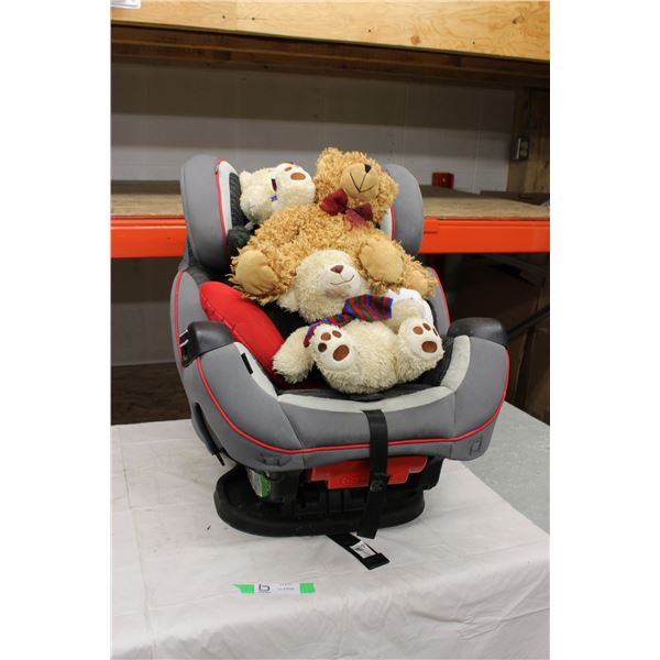 Child's Car Seat with Three Stuffed Teddy Bears