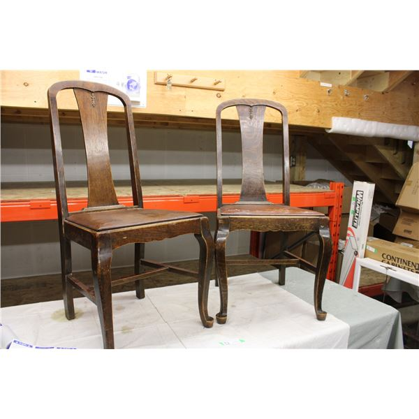 (2X THE MONEY) Pair of Wooden Dining Room Chairs