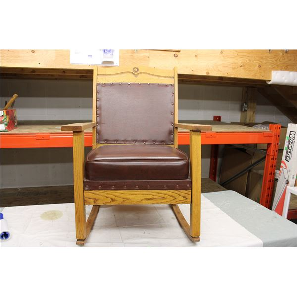 Wooden Rocker Chair with Armrests and Leather Cushions