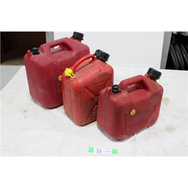 Three Plastic Gas Jerrycans