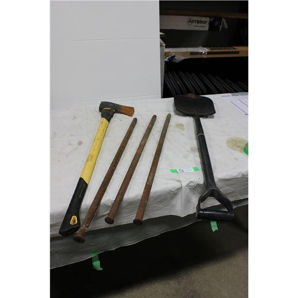 Garden Spade with Axe and Three Iron Stakes