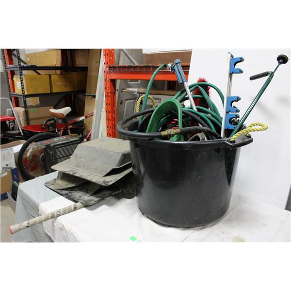 Plastic Round Tub with Garden Hose and Yard Assortment