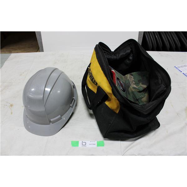 Plastic Hardhat and DeWalt Tool Bag