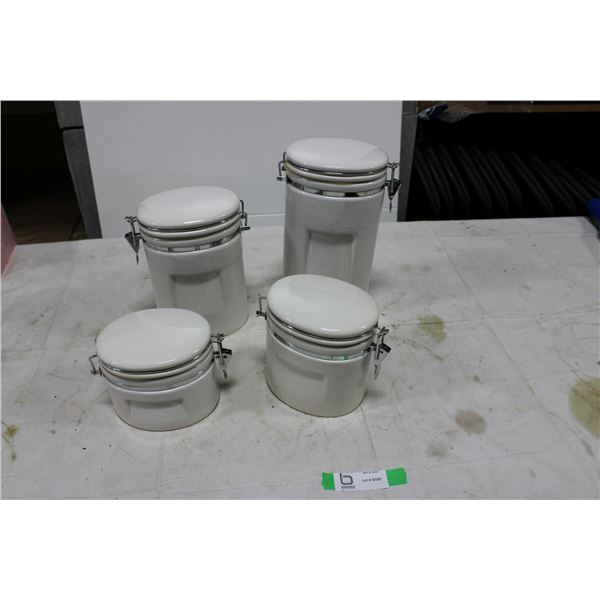 Four Piece White Cannister Set with Lids