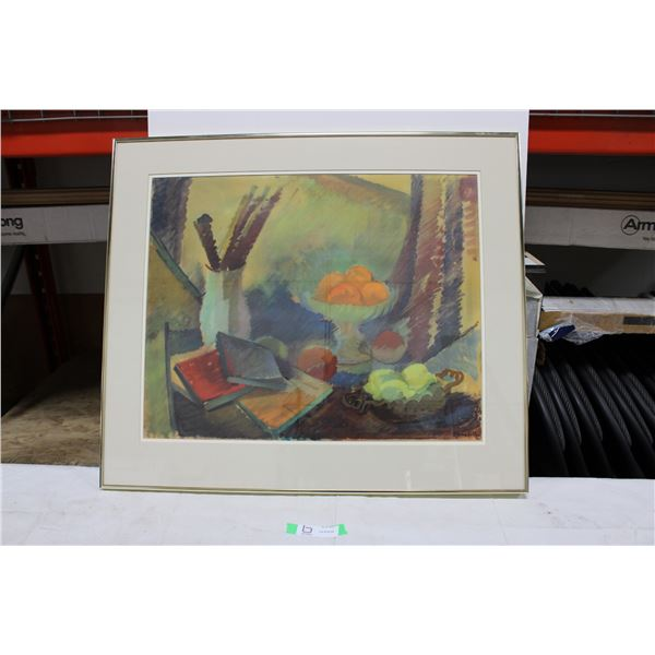 """Framed Fruit Painting: 25"""" x 29"""""""