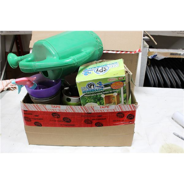 Box of Christmas Decorations and Box of Garden Supplies