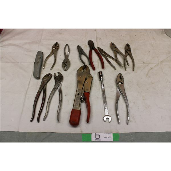 Big Lot of Pliers, vise grips, utility knife