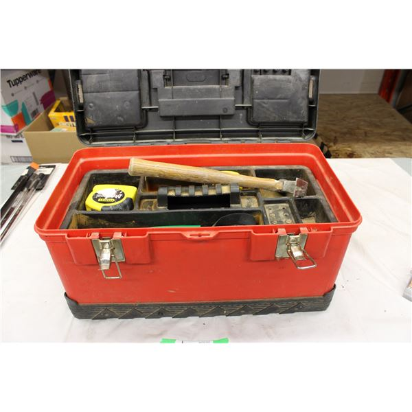 Plastic Tool Box With Some Misc Tools