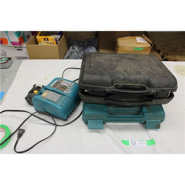 Makita Battery Charger and Battery with Makita and Campbell Hausfeld Cases