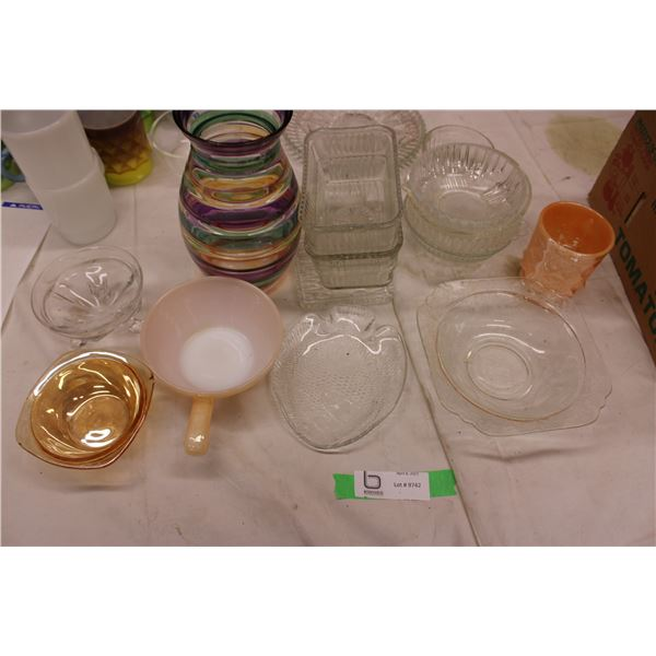 Misc Glass Lot Vases, Cups and Dishes