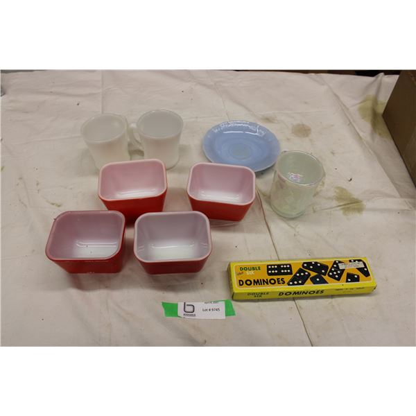 Dominoes, Pyrex Cups and Dishes