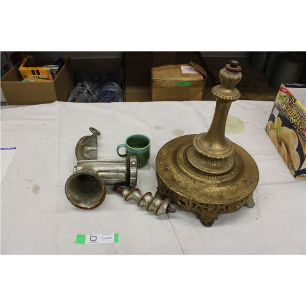 Antique Stand, Meat Grinder and Cup