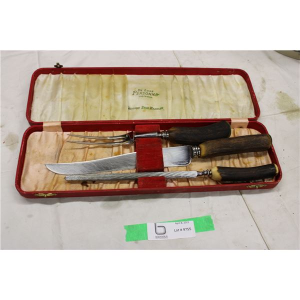 Knife Cutting Set with Stag Handles