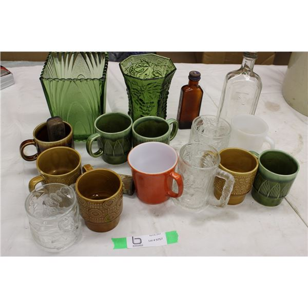 Misc Lot of Glass, Japan Vase, Green Glass