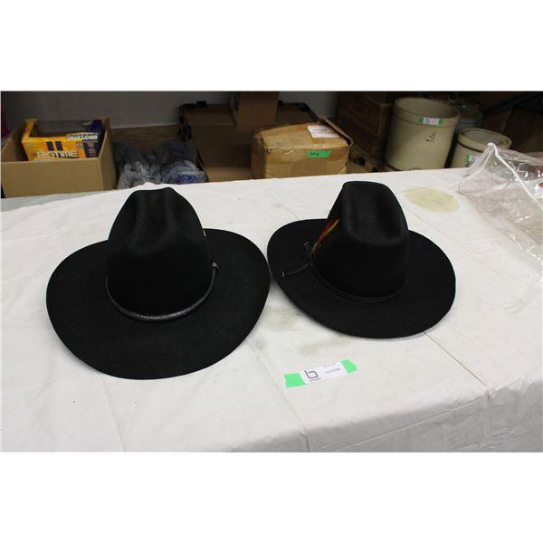 (2X THE MONEY) 2 Black Felt Cowboy Hats