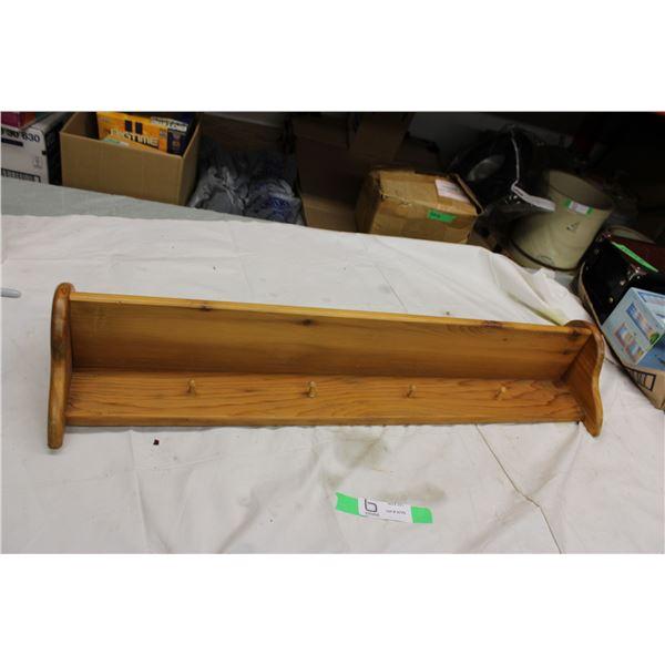 "Wooden Coat Rack Shelf 31"" long, 12"" wide"