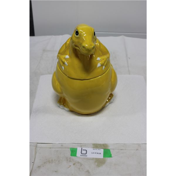 Yellow Dinosaur Cookie Jar with Lid
