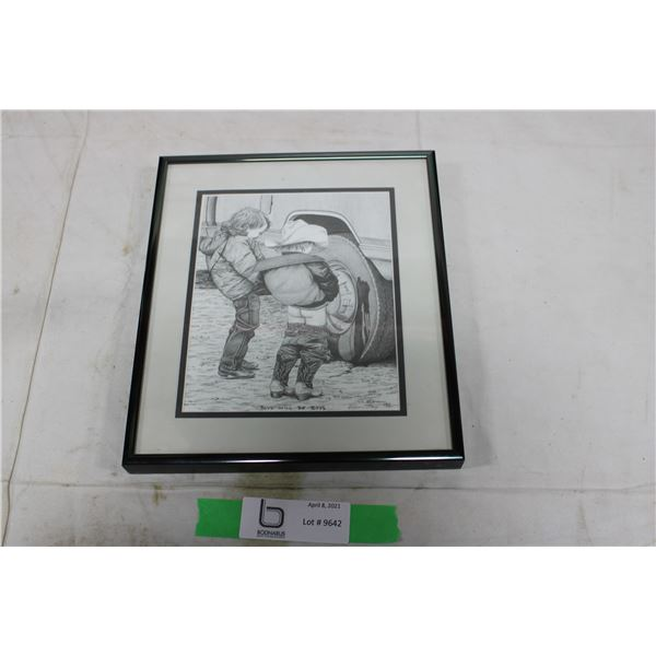 "Bernie Brown ""Boys Will Be Boys"" Framed Pencil Drawing"