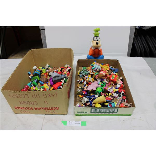 Two Boxes of Disney and Misc Figurine Toys