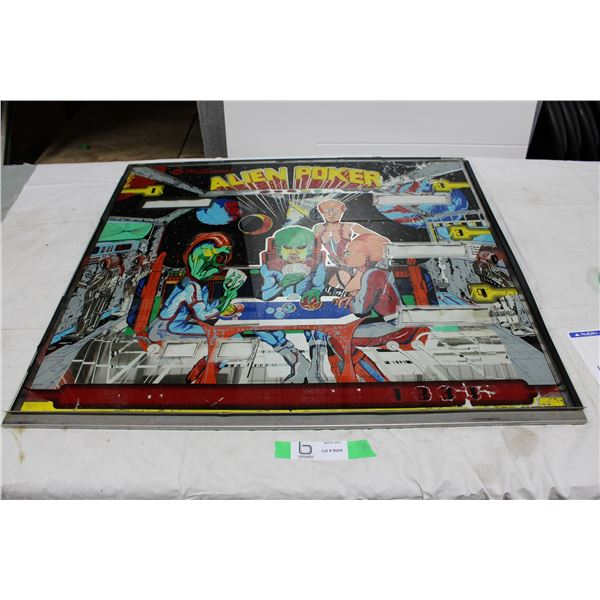 "Williams ""Alien Poker"" Pinball Backglass - used"
