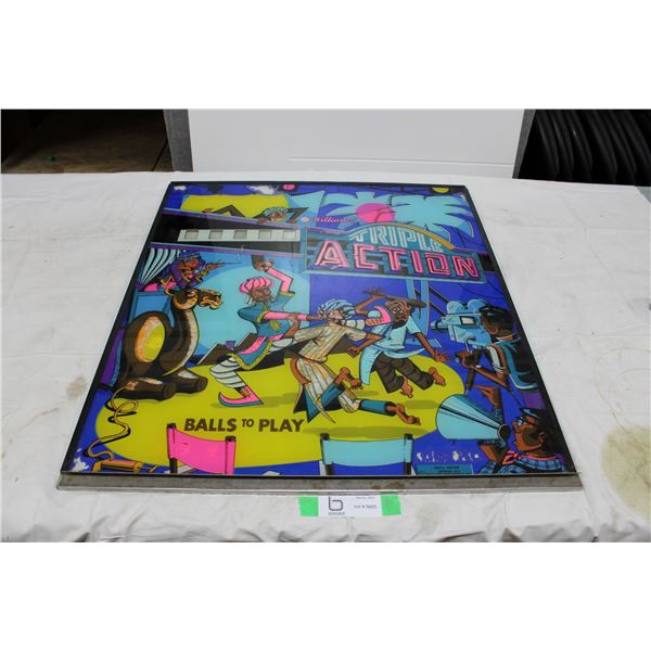 "Williams ""Triple Action"" Pinball Backglass - used"