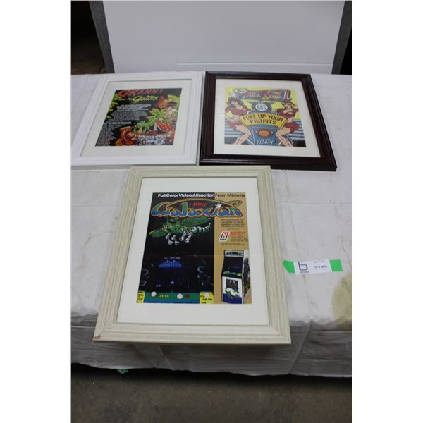 3 Framed Pinball & Arcade Game Original Flyers