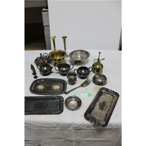 Box Lot of Vintage Plated Silver & Brass Goods