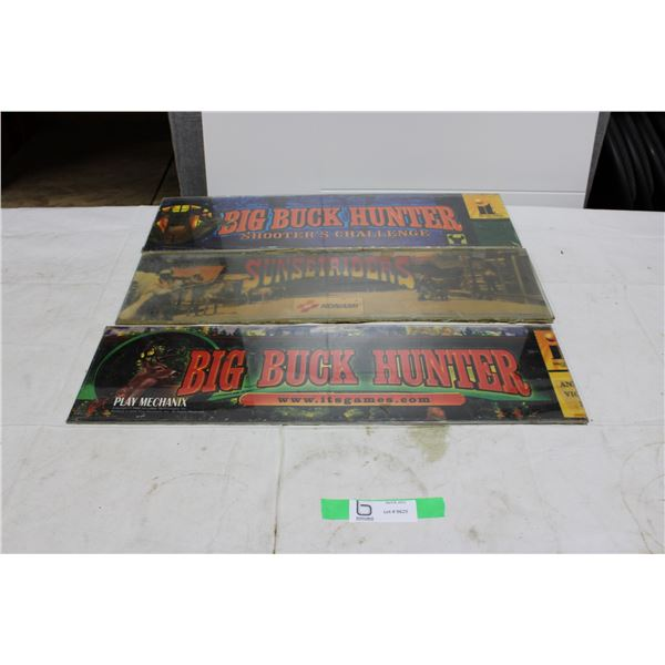 2 Buck Hunter + 1 SunsetRiders Arcade Game Headers - used
