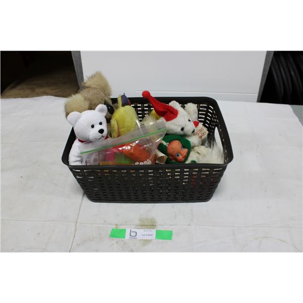 Basket Box Lot of Vintage Stuffed Toys & Dolls