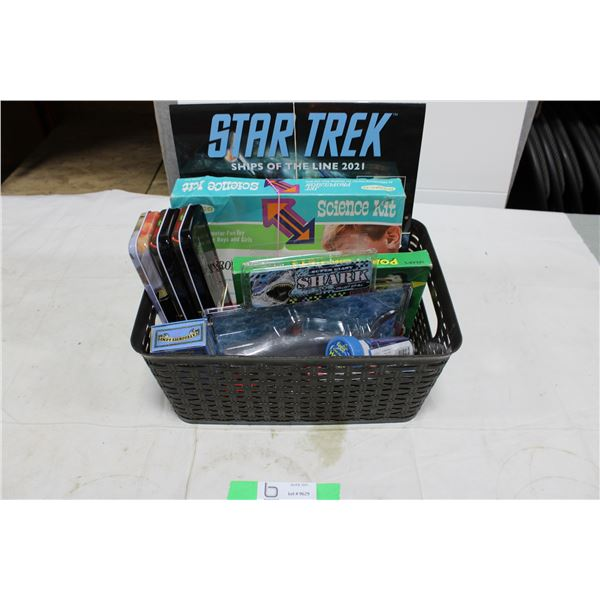 Basket Box Lot of New & Older Toys: Shark, Rocket Science Kit, Marvel Playing Cards, etc