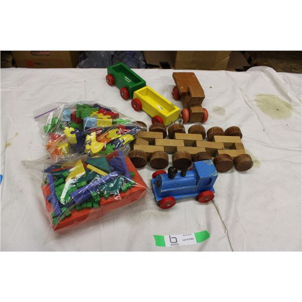 Lot of Kids Wooden Toys (Blocks and Train)