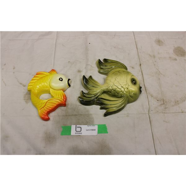 2 Chalkware Fish Wall Art