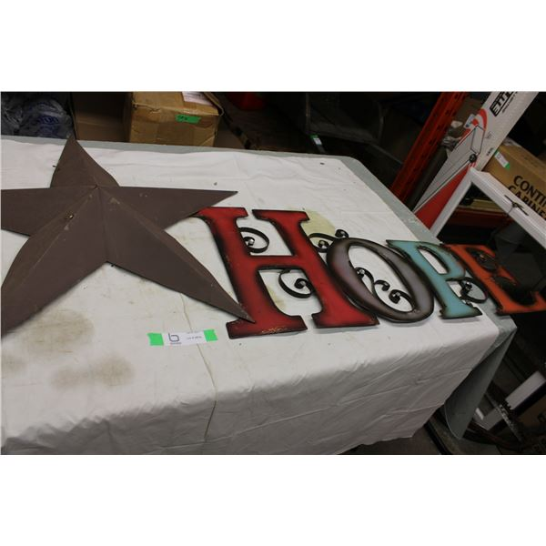 Tin Metal Star and Hope Sign