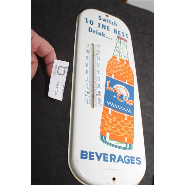 ANTIQUE SUNCREST ADVERTISING THERMOMETER