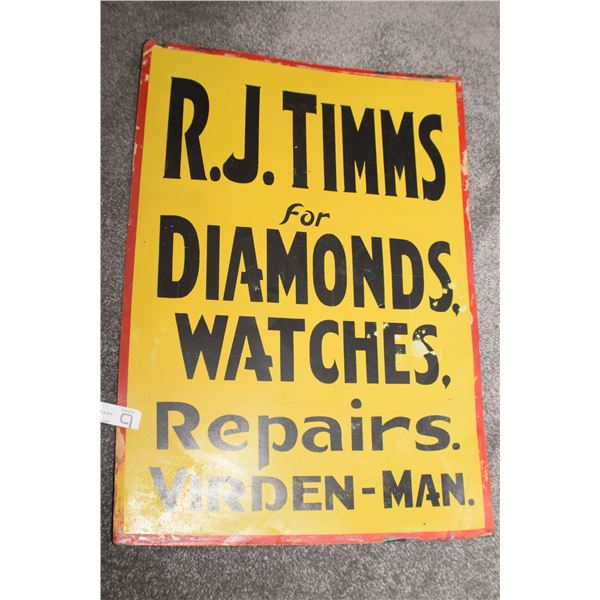 TIN TRADE SIGN -- 28 X 20 VIRDEN MANITOBA JEWELERS SIGN