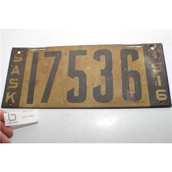VERY CLEAN 1916 SASKATCHEWAN 1916 LICENSE PLATE,,