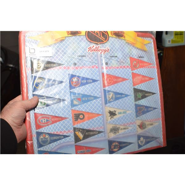 KELLOGGS CEREAL PENNANT CELLULOID RACK NHL HOCKEY CRACKS AS SHOWN
