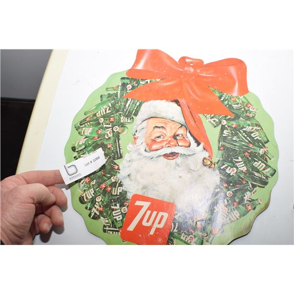 7 UP 2 SIDED LITHO CARDBOARD HANGING SIGN