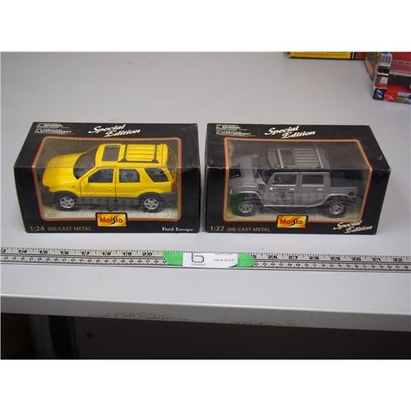 (2X THE MONEY) Maisto 1/24 Scale Ford Escape and 1/17 Scale hummer? Both Special Edition (NIB)