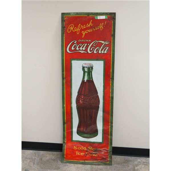 "Vintage Coca Cola Tin Sign (20"" x 59"")"