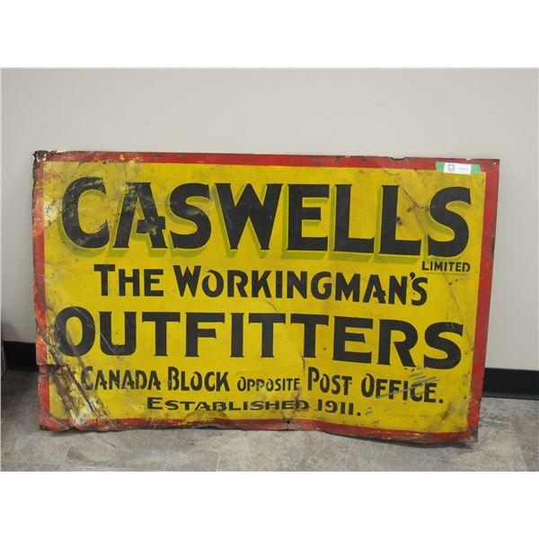 "Vintage Caswells Tin Sign (30"" x 48"")"