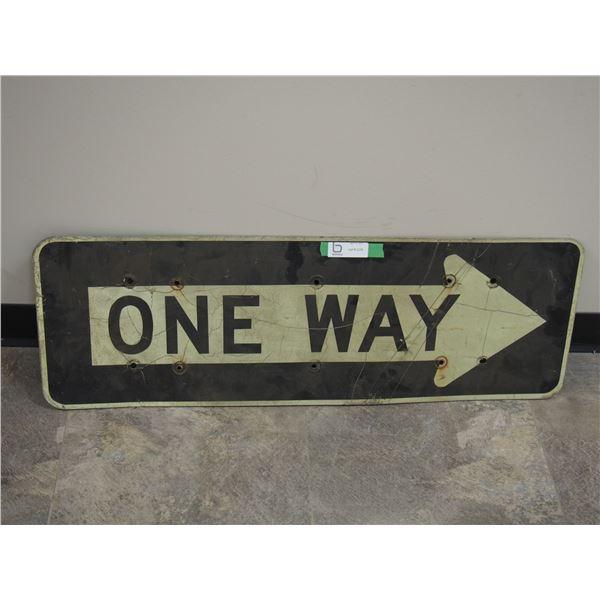 "Vintage One Way Aluminum Sign (12"" x 36"")"