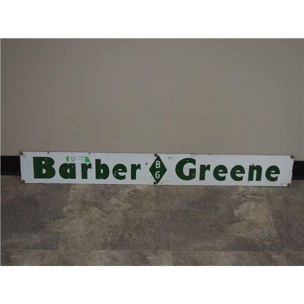 """Vintage Barber Greene Enamel Sign (5.5"""" x 45"""")"""