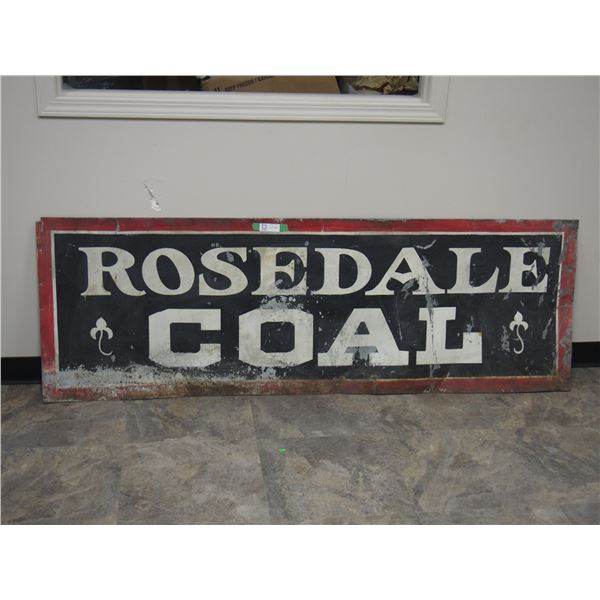"Vintage Rosedale Coal Tin Sign (24"" x 72"")"